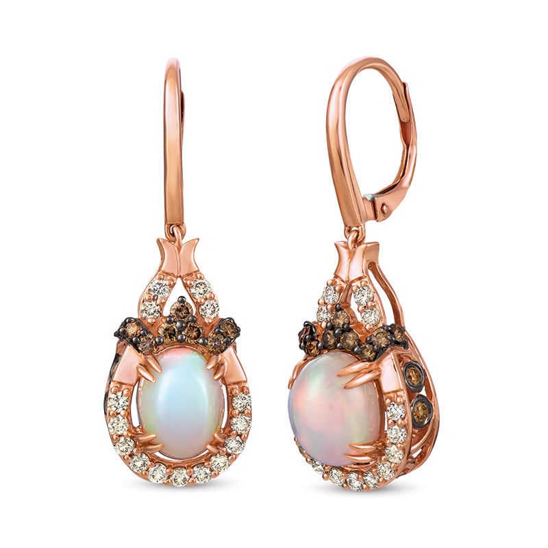 Diamond Drop Earrings in 14K Strawberry Gold