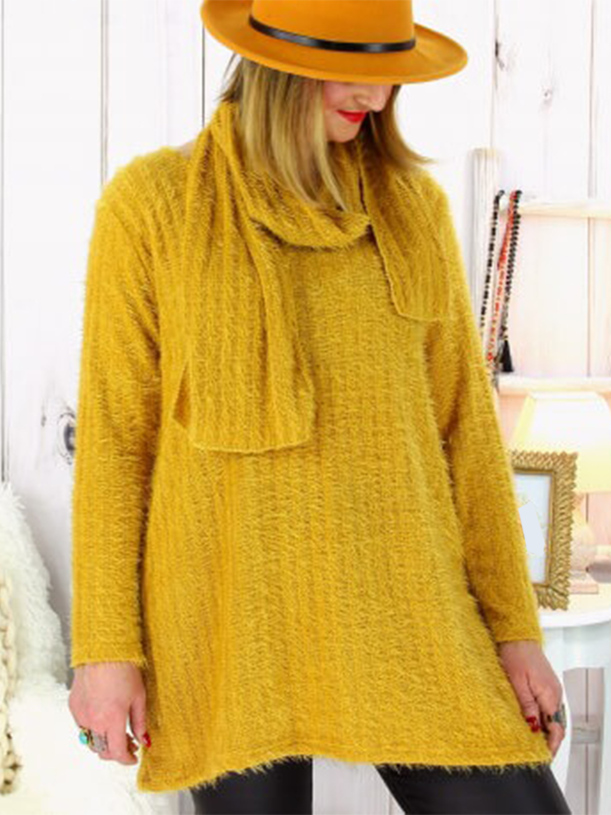 Casual Cotton,Polyester Long Sleeve Plain with Sweater(Plus Size)
