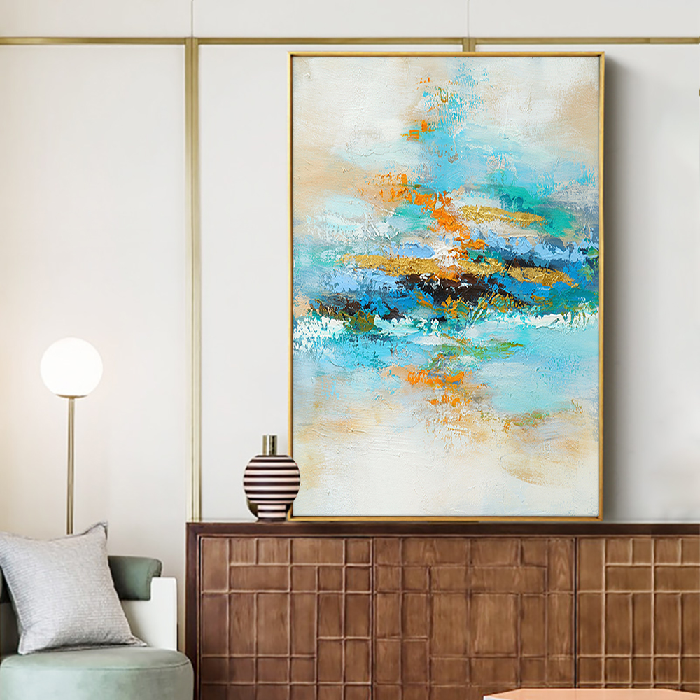 Abstract Colorful Painting Handmade Oil Painting On Canvas Modern Blue Handmade Wall Art Paintings For Bedroom Home Decoration