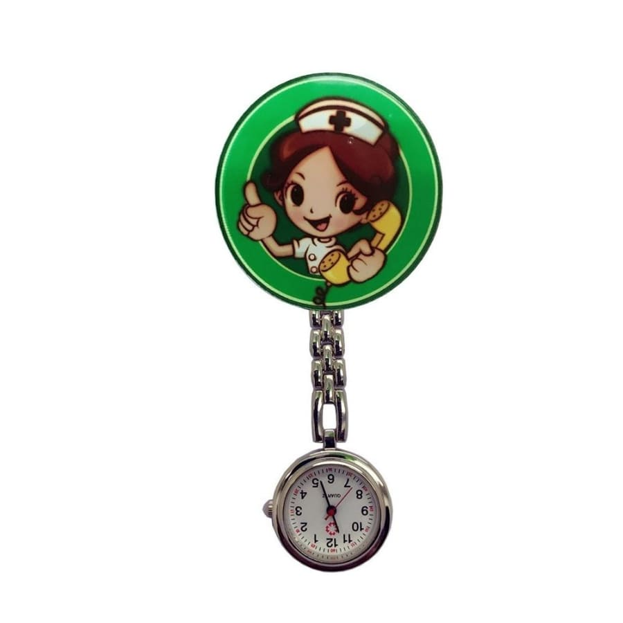 Cartoon Girl Pattern Nurse Watch Men and Women Watch Luminous Pin Quartz Movement Pocket Fob
