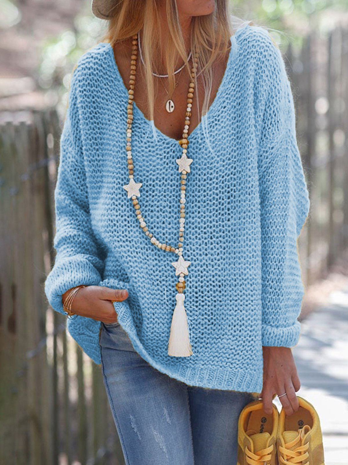 Long Sleeve Solid V Neck Knitted Sweater