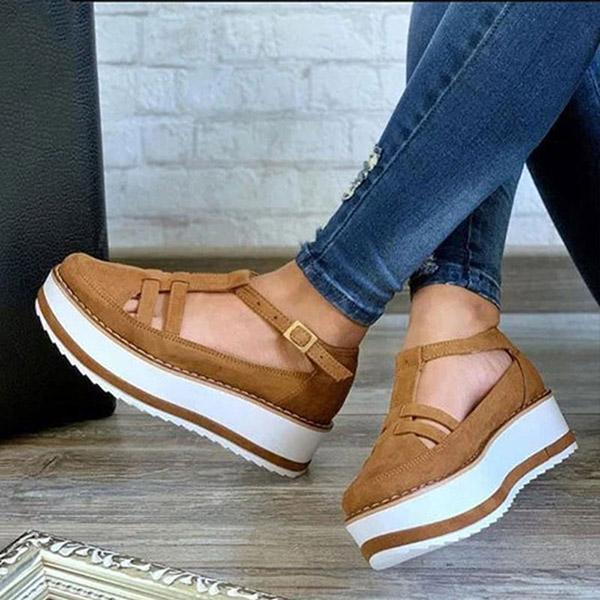 Faddishshoes Buckle Strap Creepers T-Strap Sandals