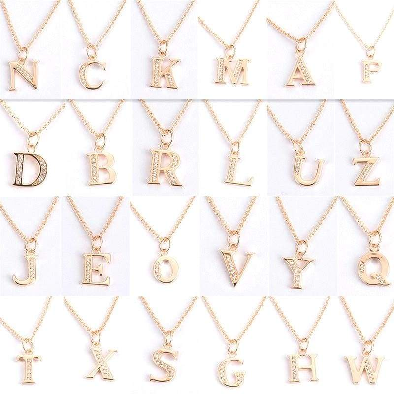 New Fashion Women 925 Sterling Silver Rose Gold AAA CZ 26 Letter Charm Pendant Necklace