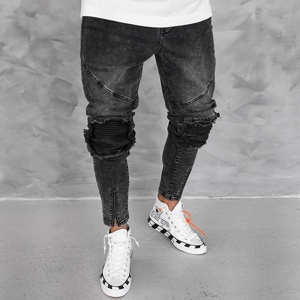 Men Ribbed Knee Slant Pocket Zip Tapered Leg Jeans