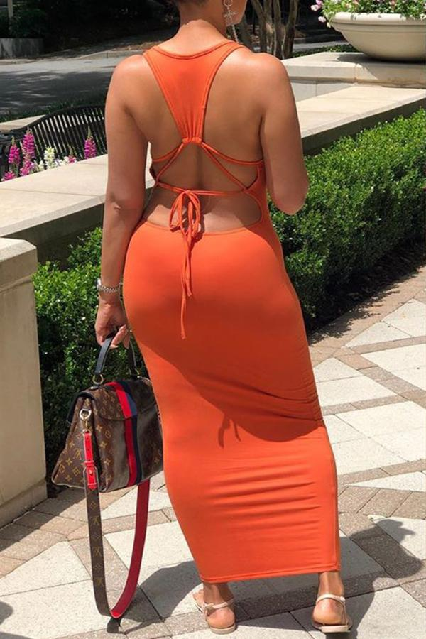 Solid Color Backless Strappy Dress