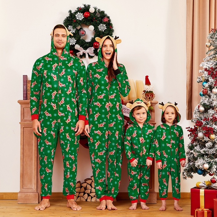 HERIN Green Reindeer Cotton Family Matching One-piece Pajamas Sets