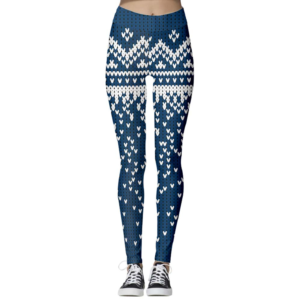 Arosetop  Women Leggings High Waist Heart Print Blue Tights Pants