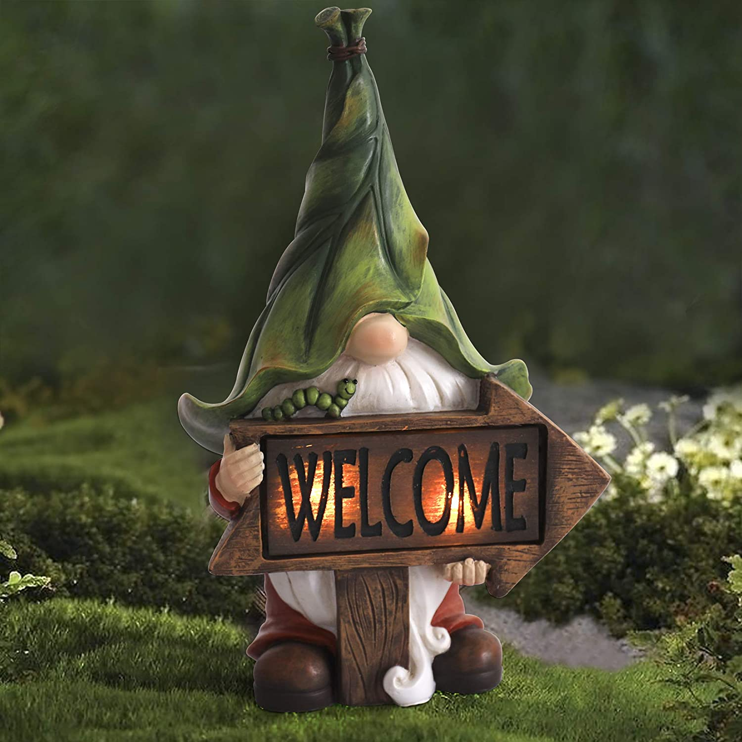 Garden Gnome Statue - Resin Gnome Figurine Carrying Magic Orb with Solar LED Lights