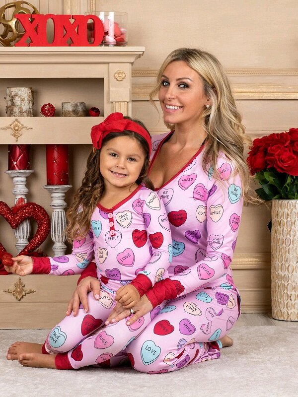 Mommy and Me Sweet Hearts Print Button Pajama Set - 50% OFF