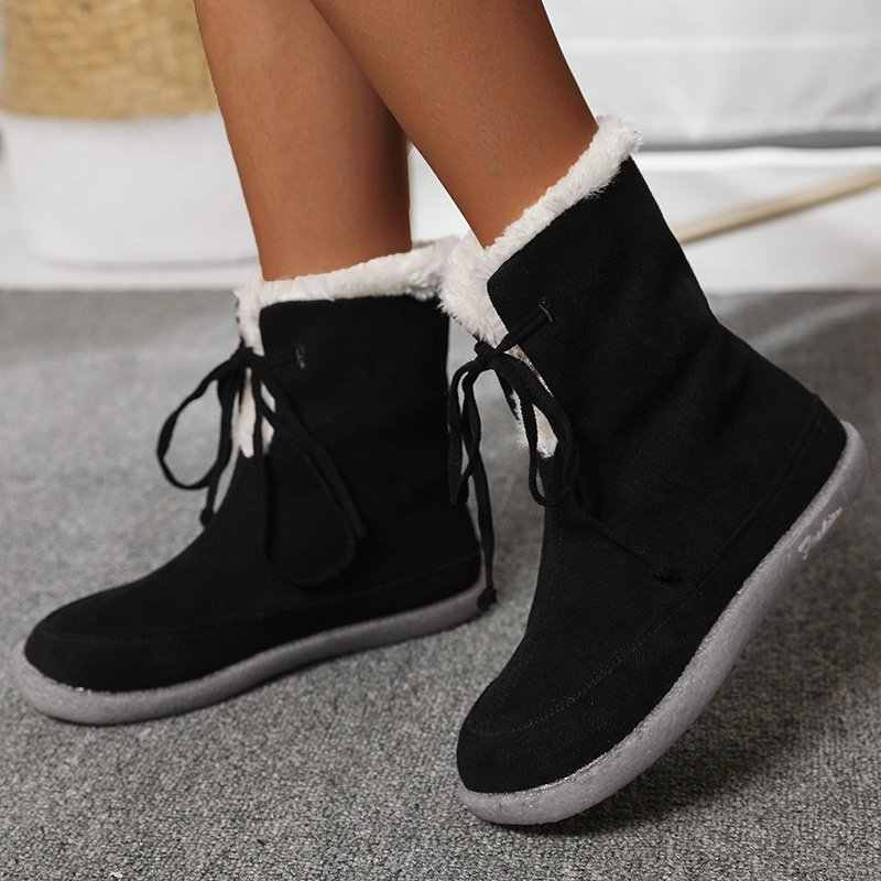 Women Fur Lined Flat Ankle Boots Winter Warm Snow Booties Casual Shoes