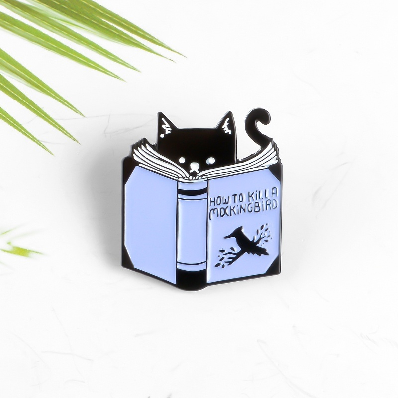 Cartoon Cat Read Book Pin How To Kill A Mocking Bird Magic Book Enamel Pins Badges Brooches For Book Lover or Student Gifts