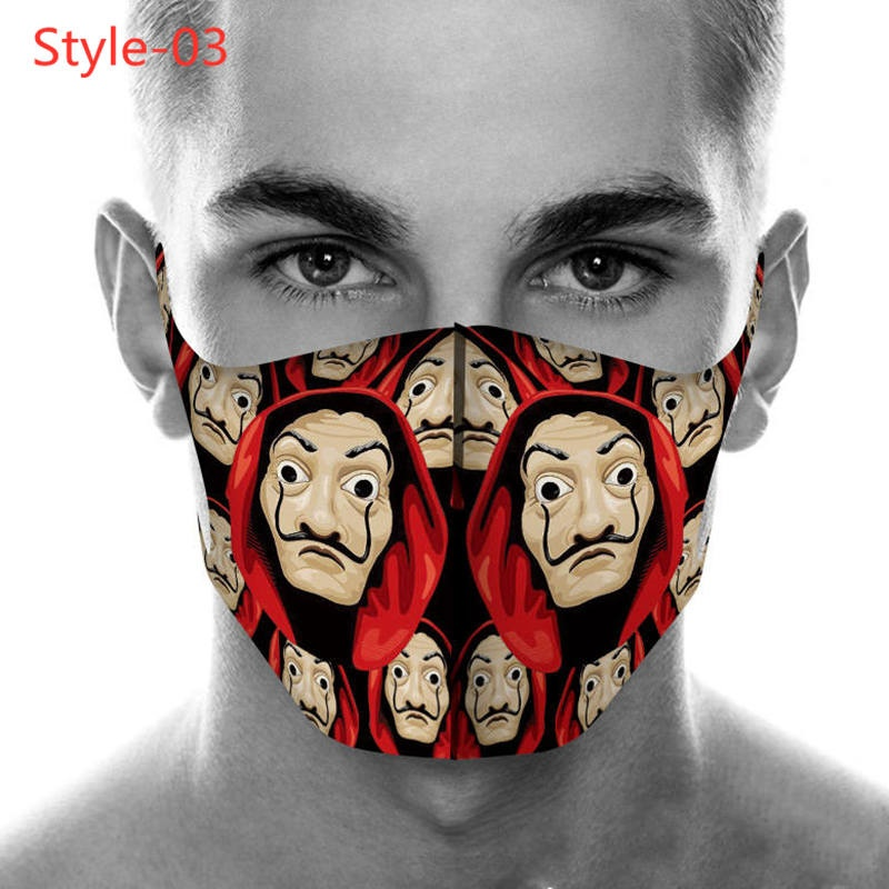 Hot TV Series La Casa De Papel Season Money Heist Season 4 Pattern Cotton Dust-Proof Smoke-Proof Face Masks Cycling Outdoor Warm Face Mask