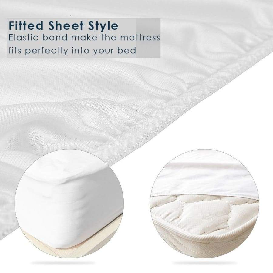 White Color Bed Mattress Topper Cover Waterproof Mattress Protector bed Mattress Pad Fitted Sheet Separated Water Bed Linens with Elastic