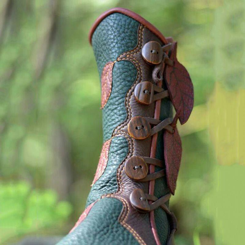 Round Toe Color Block Hasp Western Thread Boots