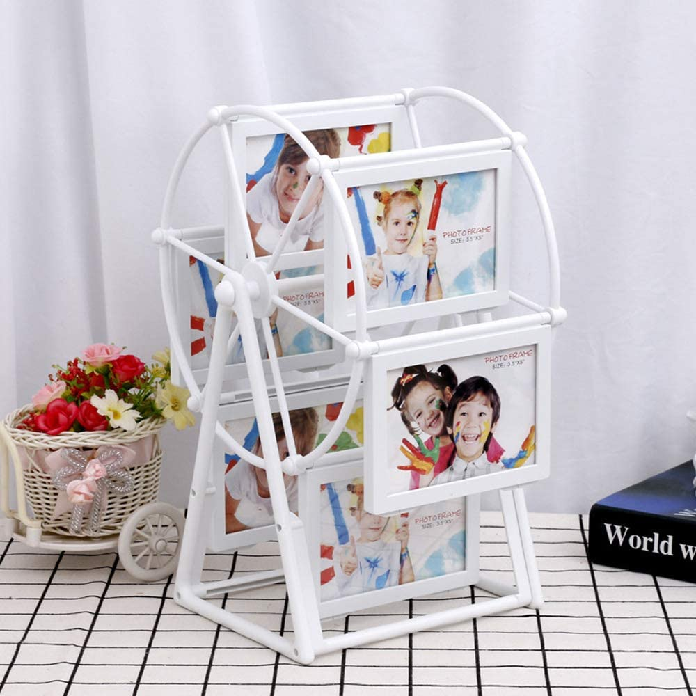White Rotating Ferris Wheel Photo Frame, Personalized 12 Photos Family Photo Frame