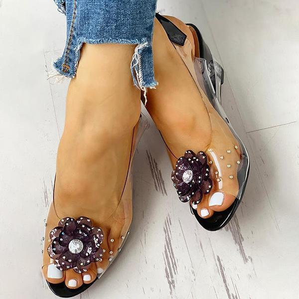 Faddishshoes Studded Flower Design Transparent Wedge Sandals