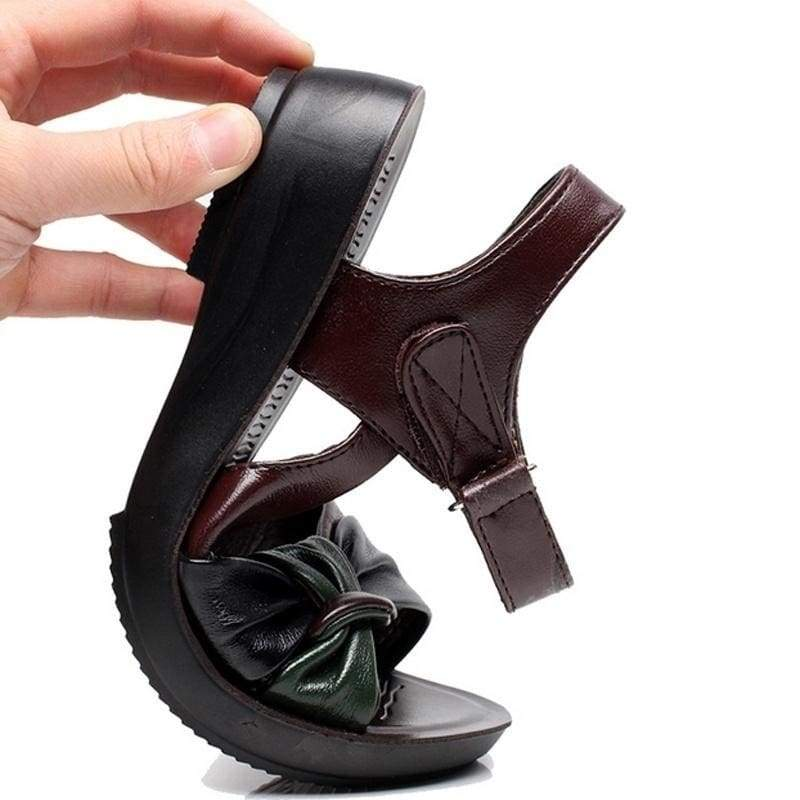 2016 Summer Shoes Flat Sandals Women Aged Leather Flat with Mixed Colors Fashion Sandals Comfortable Old Shoes