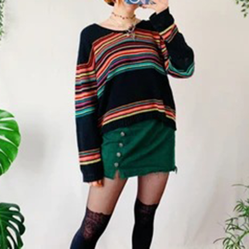 Vintage V-neck rainbow striped sweater