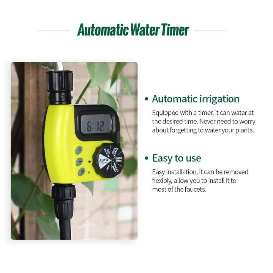 Automatic Water Timer Outdoor Garden Irrigation Controller 1-Outlet Programmable Hose Faucet Timer Garden Automatic Watering Device Without Battery Yellow