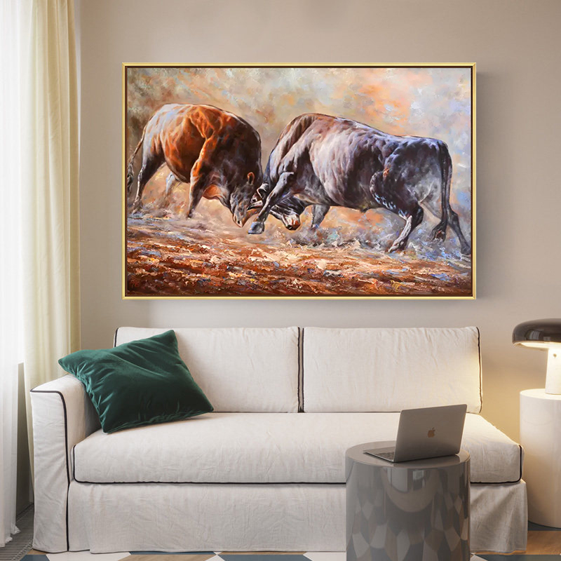 Hand painted large bullfighting abstract oil painting art living room abstract animal oil painting
