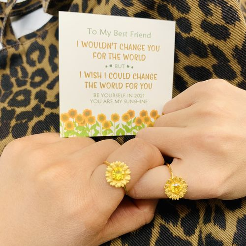 I WOULD CHANGE THE WORLD FOR MY DAUGHTER SUNFLOWER RING