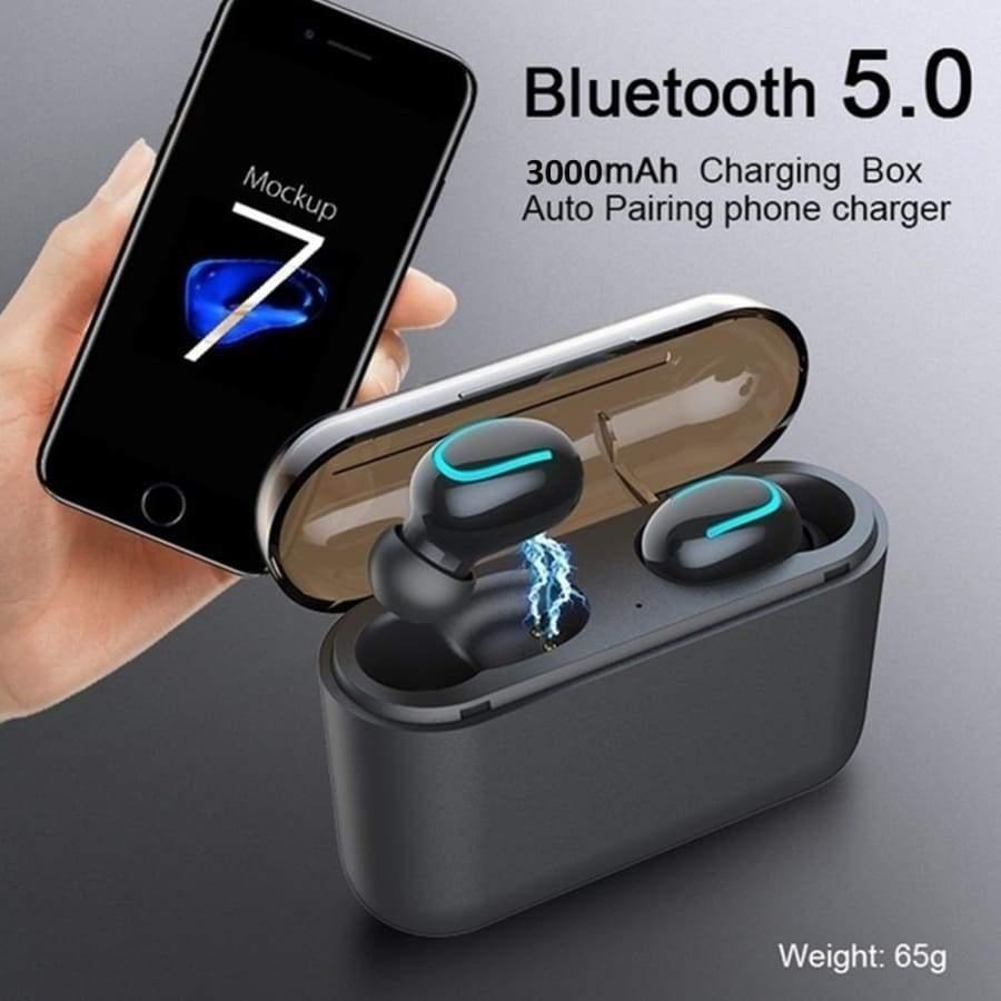 Truely Wireless Bluetooth 5.0 Earbuds Stereo TWS Bluetooth Headset Sports Stereo In-Ear Earphones Touch Control Headphone with Charging Case(2200/3500mAh)