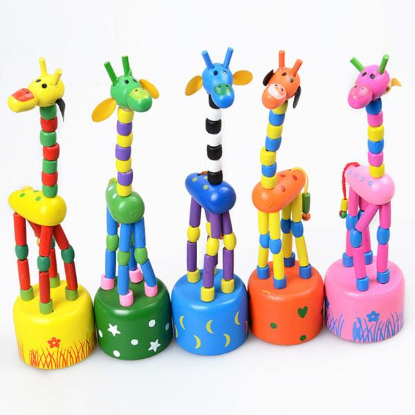 Baby Wooden Rock Giraffe Toy Standing Dancing Hand Doll 18cm Tall Animal Toy Kid' V15032304