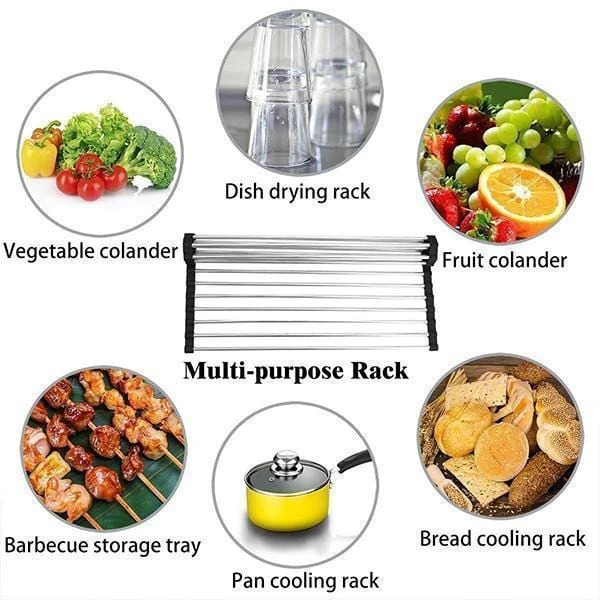 Stainless Steel Roll-Up Drainer Rack
