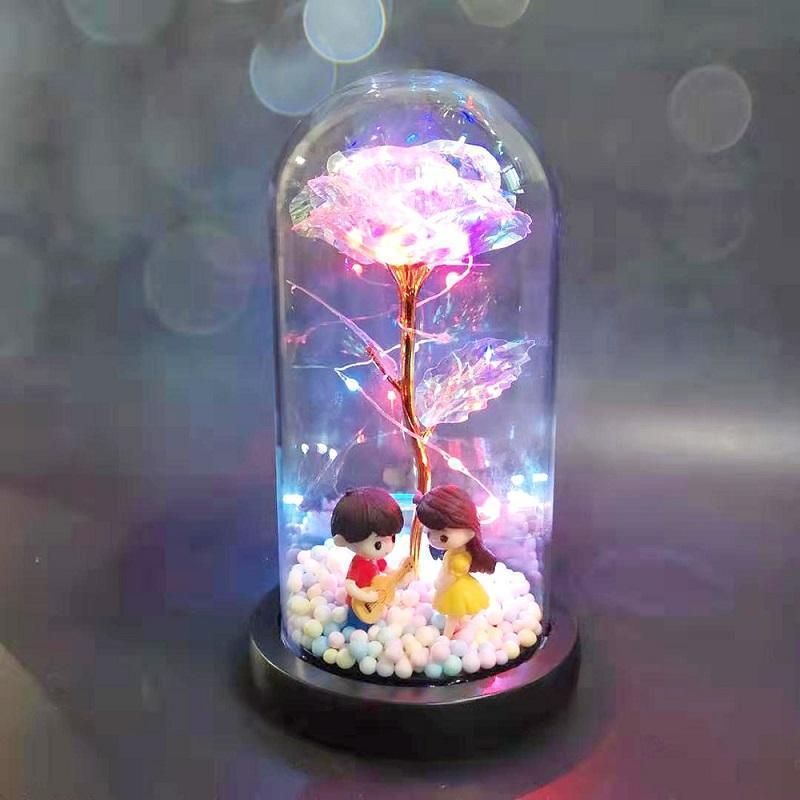 ##Valentine's Day## LED Enchanted Rose Light Silked Artificial Eternal Rose Flower In Glass Dome Lamp Decors Light Christmas Valentine Romantic Gift