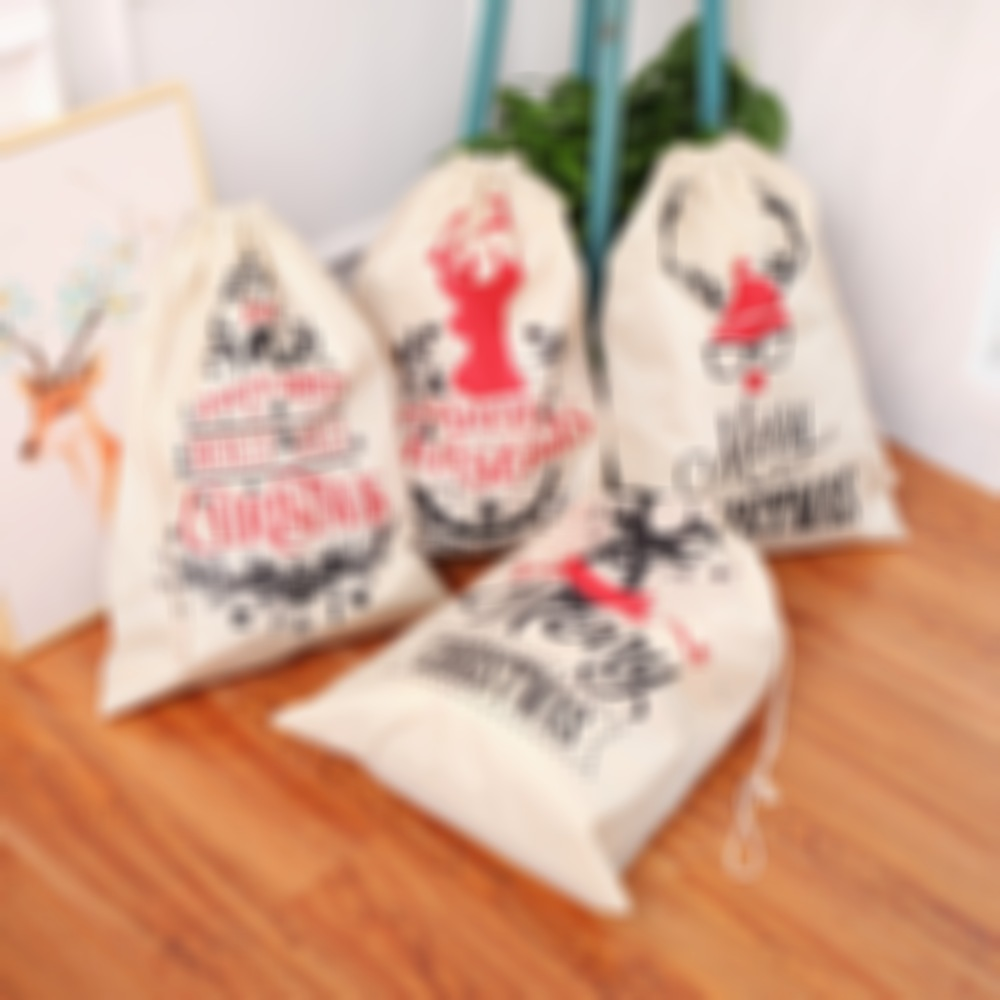 Christmas Linen Bags Santa Snowman Gifts Candy Sack