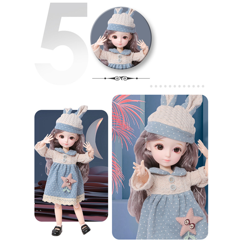 New Cute Brown Blue Eyeball Dolls With Fashion Dress For Girls Toy