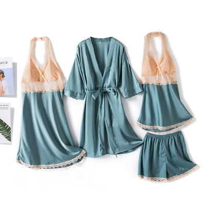 Ice silk nightgown mid-length sexy sling pajamas with chest pad four-piece set