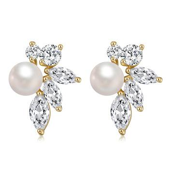 2020 New Fashion Jewelry 925 Sterling Silver 18K 14K 9K gold Shiny Pearl  Stud Earrings For Ladies
