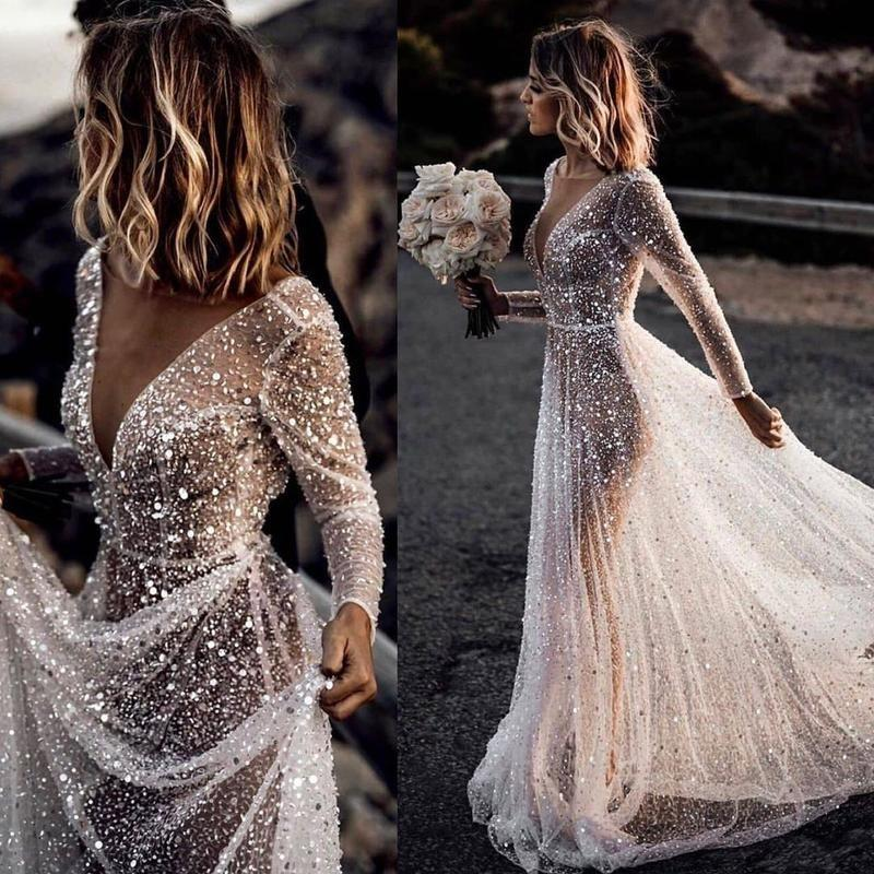 2020 star's main wedding dress [Dream Sky] high end dream lace fairy skirt lawn light wedding dress
