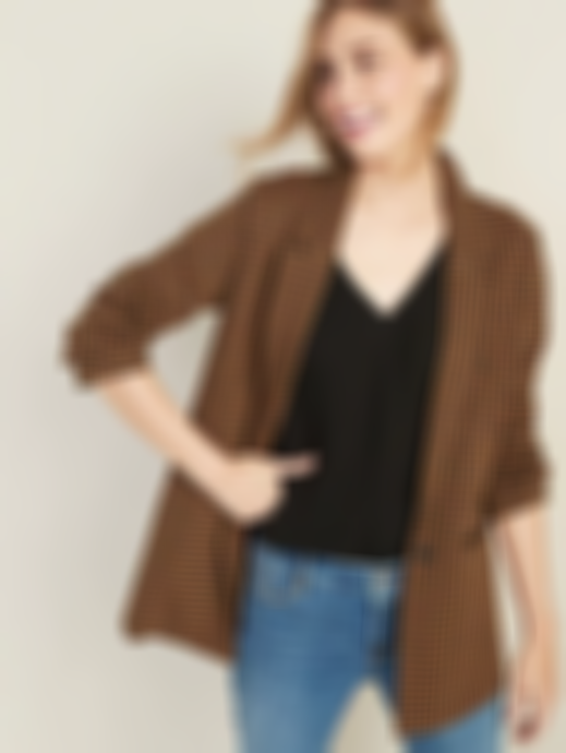 Jacquard Boyfriend Blazer for Women