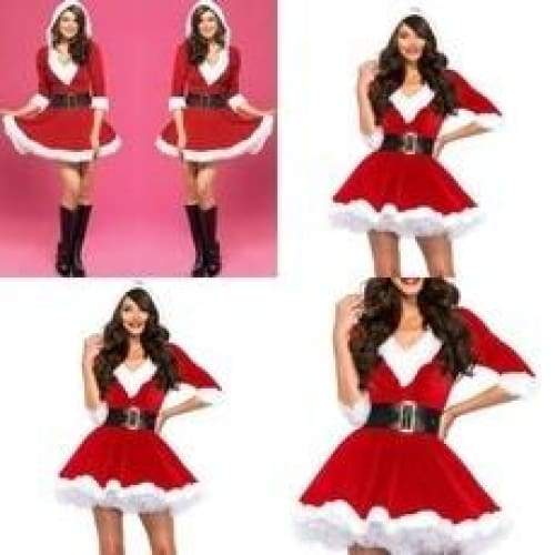 New Christmas Costume Hooded V-neck Short Skirt with Cap Christmas Party Dress Christmas Cosplay, Red Hoodie + Belt