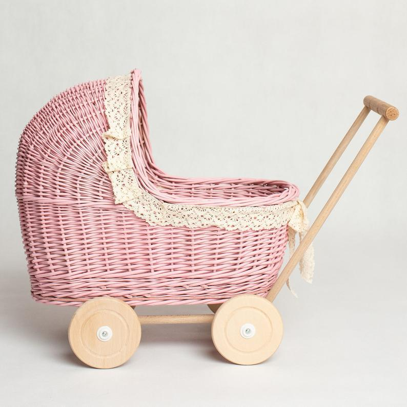 Wicker Pram, Doll Stroller, Baby Walker, Wicker Baby Carriage,Doll Pram,Doll Buggy, Wicker Troller + mattress and bedding included. Handmade