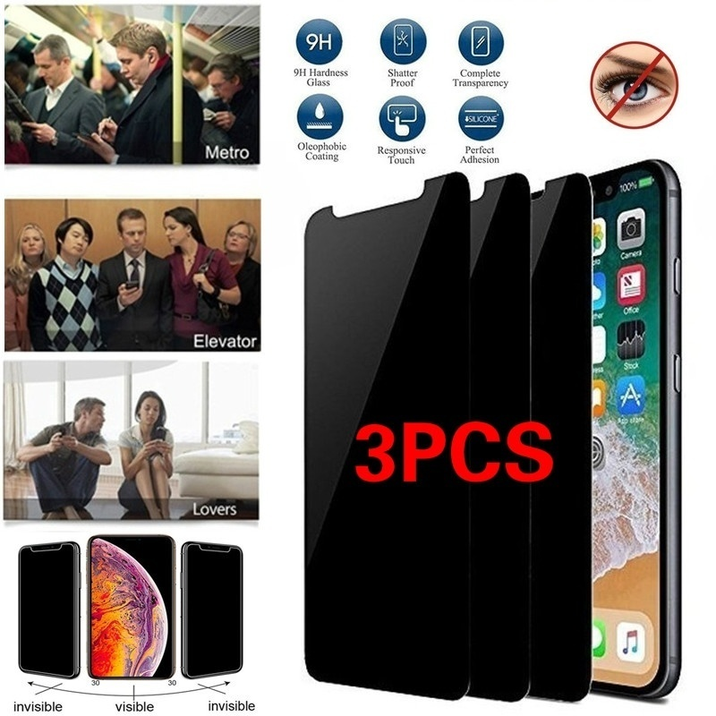 1/2/3Pcs Anti-Spy Peeping Privacy Tempered Glass Screen Protector For IPhone 11 IPhone 11R IPhone 11 Max IPhone 5s 6 / 6s / 6 Plus/ 6s Plus/ 7/ 7 Plus/ 8/ 8 Plus / IPhone X/ Samsung