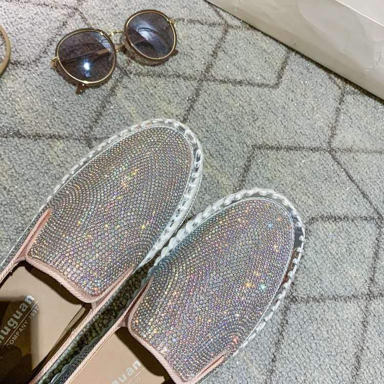 Fashion glitter rhinestone shiny platform sneakers slip on crystal sneakers for women