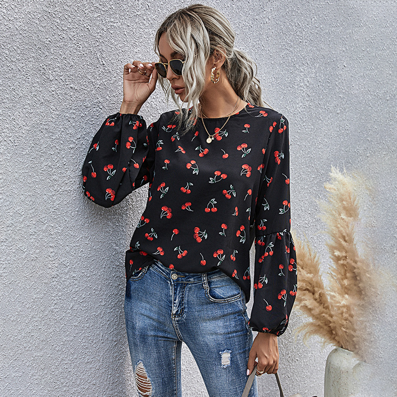 Fruit pattern round neck casual long sleeves