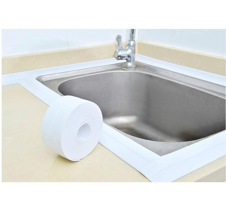 1PCS Home PVC Material Sink Crack Strip Kitchen Bathroom Bathtub Corner Sealing Tape Waterproof Mold Seal Strip Tape Corner Sticker Waterproof Strip Sealing Tape (Width 2.2cm, length 1m or 2m or 3m)