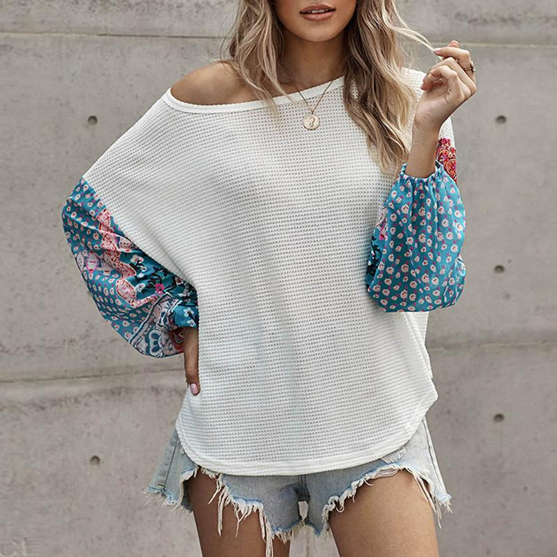 Casual Flowers Long Sleeve Crew Neck Red Tops For Women