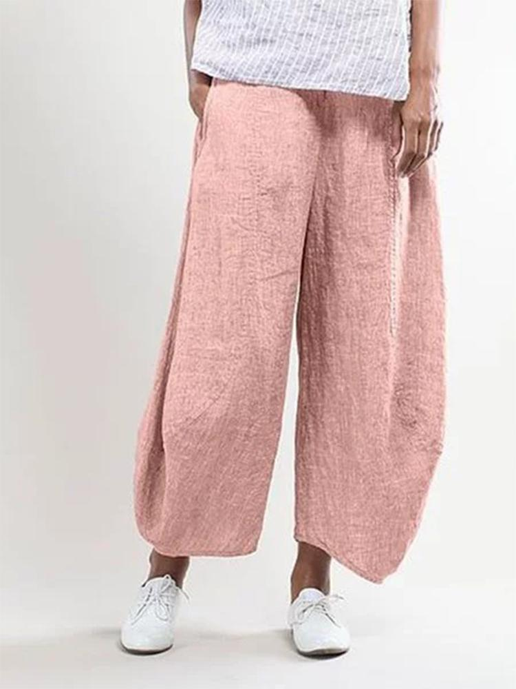 Women's Pure Color Cotton and Linen Cropped Casual Pants