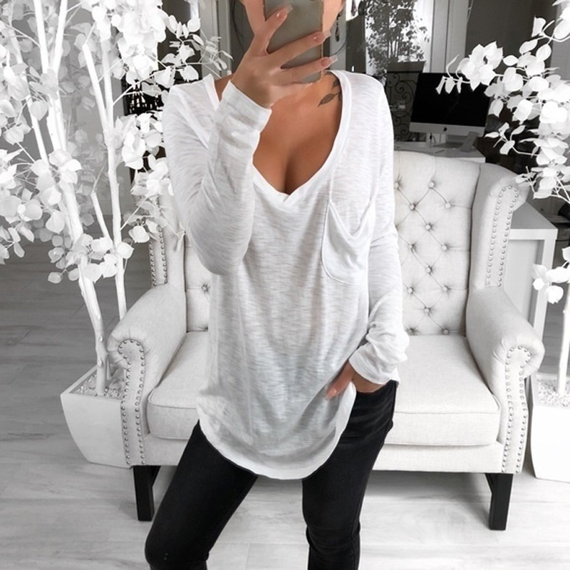 Women Casual Solid Color Long Sleeve Tops Loose Plus Size Pullover Blouses