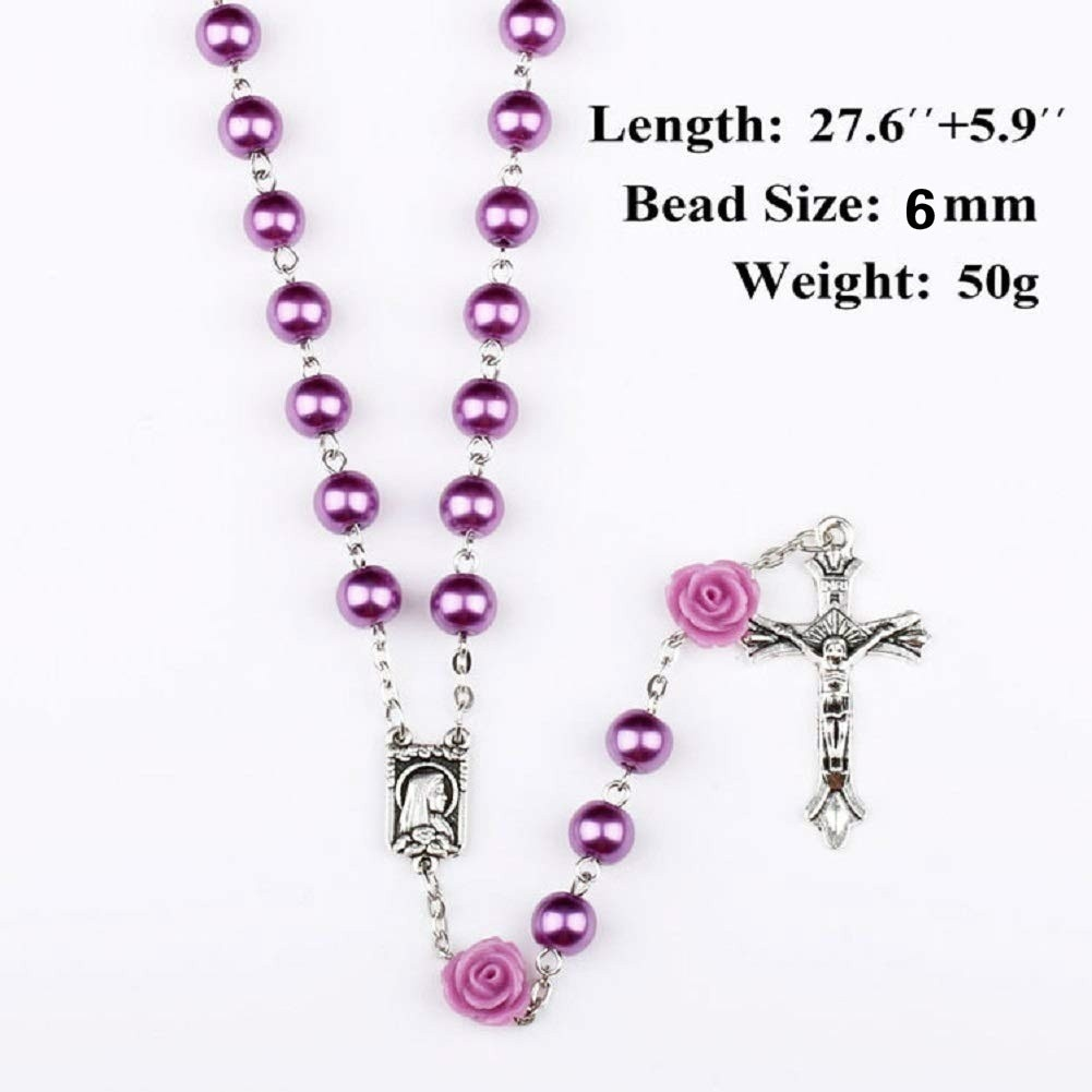Glass Pearl Beads Rosary First Communion Gift 6pcs 8mm Our Rose Holy Soil Medal&Cross Purple/Pink/White/Black Rosary Necklace