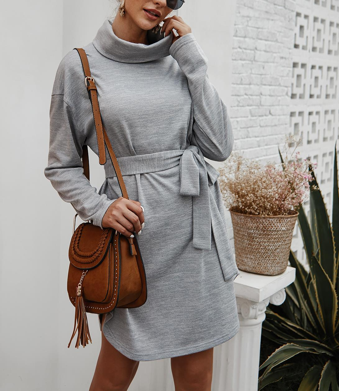Simple High Neck Tie Warm with Dresses