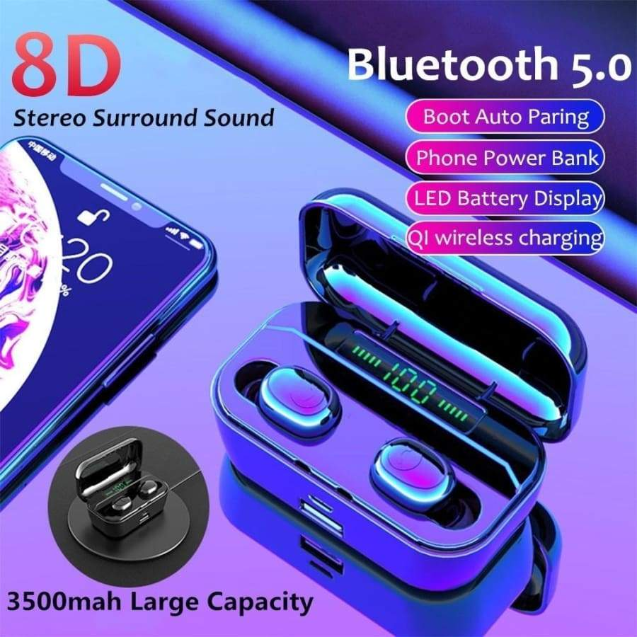 2019 Latest New In-Ear Wireless Charging Mini Bluetooth 5.0 Headset IPX7 Waterproof Auto Connect Sports TWS Single/Binaural HD Mic Call 3500mah  Charging Box