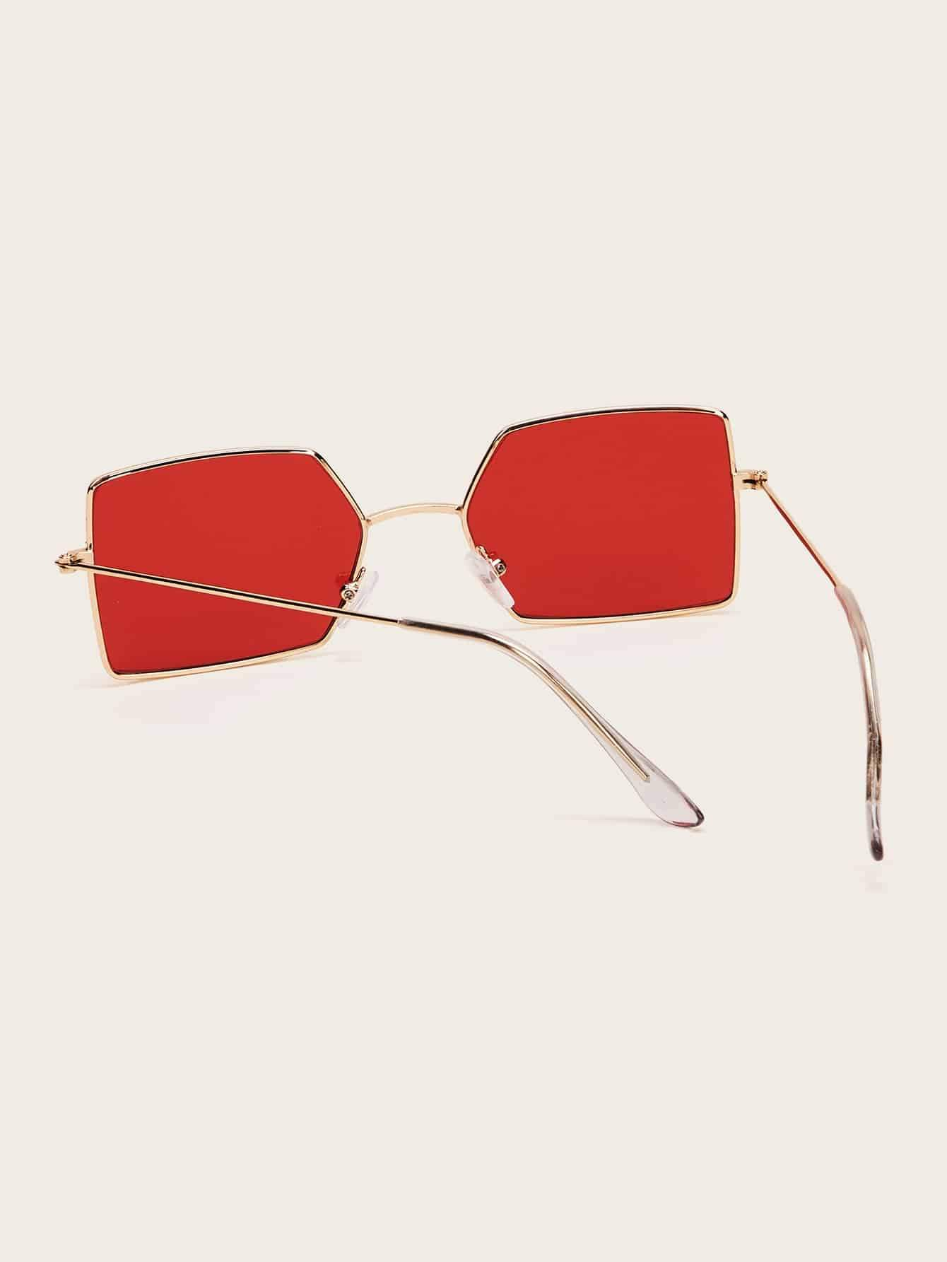 Metal Frame Tinted Lens Sunglasses With Case