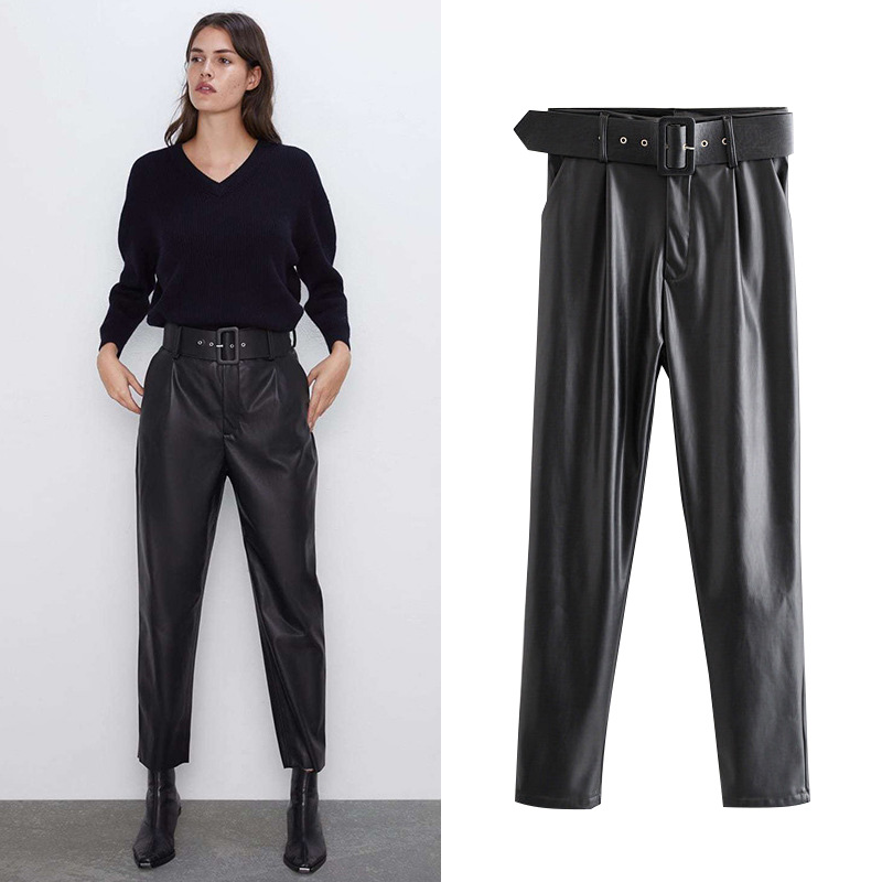 Hot Sale Ladies Leather Pants Casual Harem Trousers