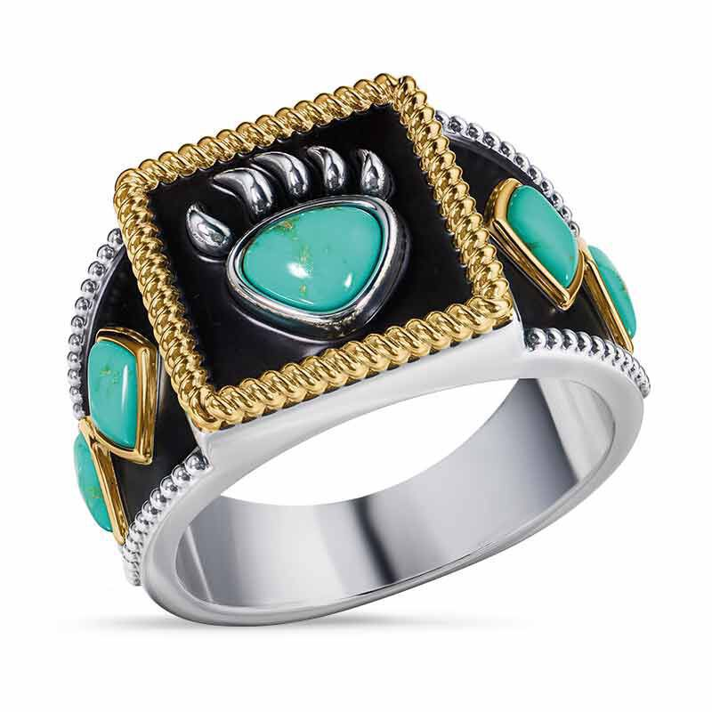 Bear Claw Legend Male Ring Viking Warrior Turquoise Bear Claw Ring